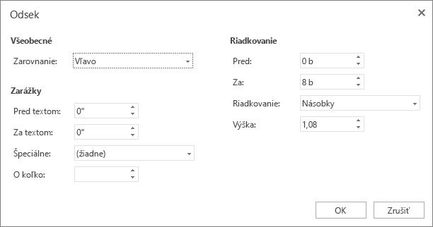Snímka obrazovky dialógového okna Odsek sozobrazením možností sekcií Všeobecné, Zarážky aRiadkovanie.
