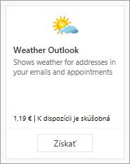 Snímka obrazovky s doplnkom Weather Outlook dostupným v bezplatnej skúšobnej verzii alebo za platbu.