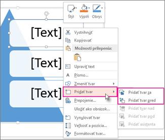 Vloženie textového poľa alebo tvaru