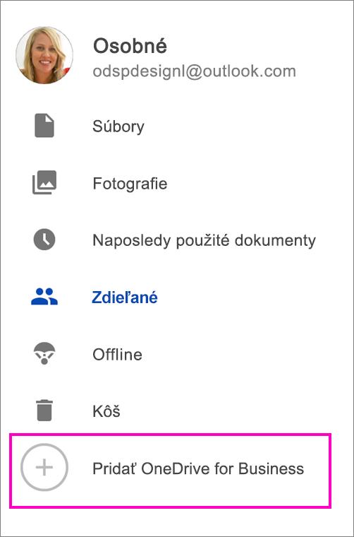 Pridať OneDrive for Business.