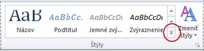 Tlačidlo Ďalšie štýly programu Word 2010