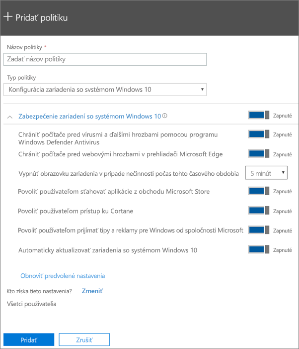 Tabla Pridanie politiky svybratou položkou Konfigurácia zariadenia sWindowsom 10