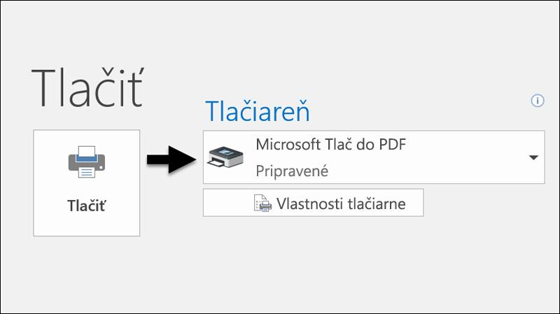 Na tlač e-mailu do PDF súboru môžete použiť príkaz Tlačiť.
