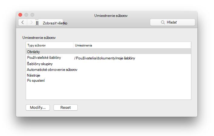 snímka obrazovky s panelom predvoľby umiestnenia súborov z Microsoft Wordu
