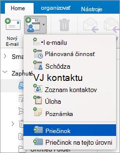 Zobrazuje výber priečinka v zozname nové položky.