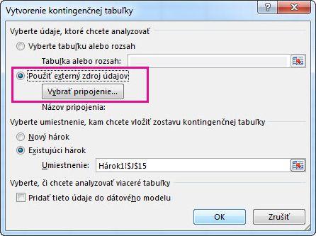 Dialógové okno Vytvorenie kontingenčnej tabuľky s vybratým použitím externého zdroja údajov
