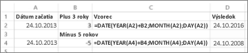 Príklady pripočítania a odpočítania dátumov