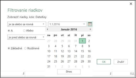Power BI v Exceli – podpora výberu dátumu pre vstupné hodnoty dátumu v dialógových oknách Filtrovanie riadkov a Podmienené stĺpce