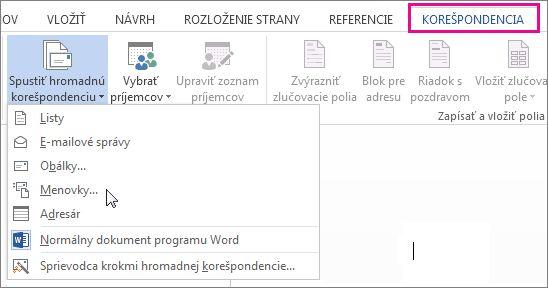 Snímka obrazovky s kartou Korešpondencia v programe Word zobrazujúca príkaz Spustiť hromadnú korešpondenciu a zoznam dostupných možností typu hromadnej korešpondencie, ktorý chcete spustiť.