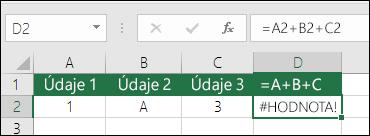 Príklad slabej štruktúry vzorca.  Vzorec v bunke D2 je =A2+B2+C2