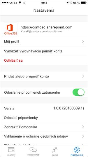 Čiastočná snímka obrazovky zobrazujúca kartu Nastavenia aplikácie SharePoint