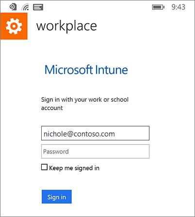 Prihlásenie do pracovného priestoru Microsoft vo Windows Phone