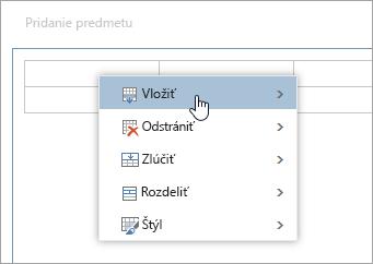 Snímka obrazovky s kontextovou ponukou tabuľky
