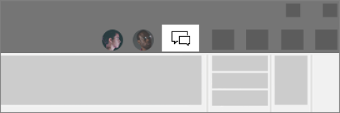 Sivý panel s ponukami so zvýrazneným tlačidlom konverzácie