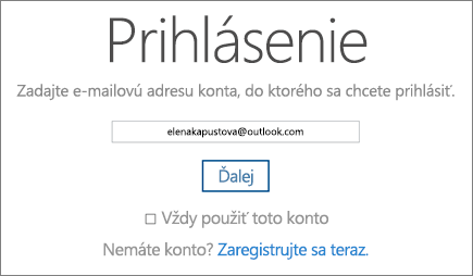 Snímka obrazovky s prihlasovacou stránkou OneDrivu.