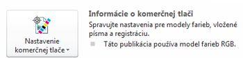 Nastavenia komerčnej tlače v programe Publisher 2010
