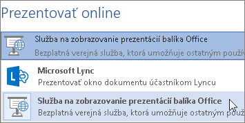 Prezentácia online pomocou služby zobrazovania prezentácií balíka Office