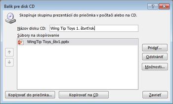 Zbalenie prezentácie pre disk CD