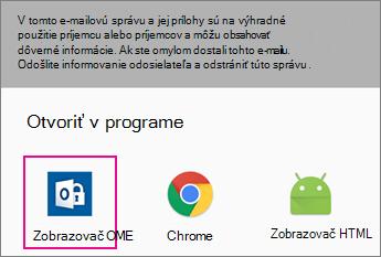 Zobrazovač OME so službou Gmail na Android 2