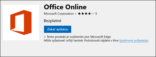 Rozšírenie stránky Office Online v službe Microsoft Store
