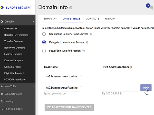 Pridajte ďalšie hodnoty názvových serverov