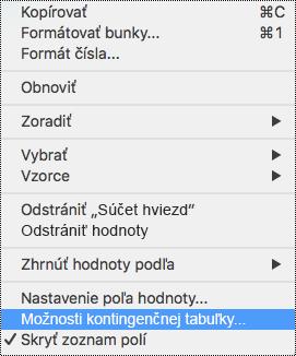 Položka Možnosti kontingenčnej tabuľky v kontextovej ponuke Excelu pre Mac
