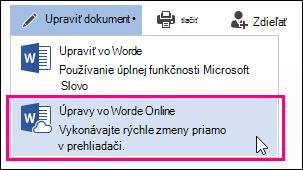 Obrázok príkazu Upraviť vaplikácii Word Web App