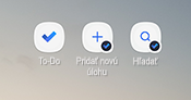 Snímka obrazovky zobrazujúca klávesové skratky na domovskej obrazovke Androidu pre aplikáciu to-do, Pridanie novej úlohy a vyhľadávania