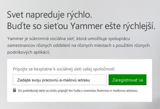 Prihlasovacia obrazovka Yammera