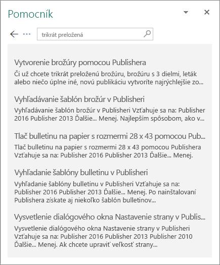Snímka obrazovky stablou Pomocníka vPublisheri 2016 sozobrazením výsledkov vyhľadávania výrazu Trifold.
