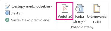 Príkaz Vodotlač vo Worde 2013. Na karte Návrh kliknite na položku Vodotlač.