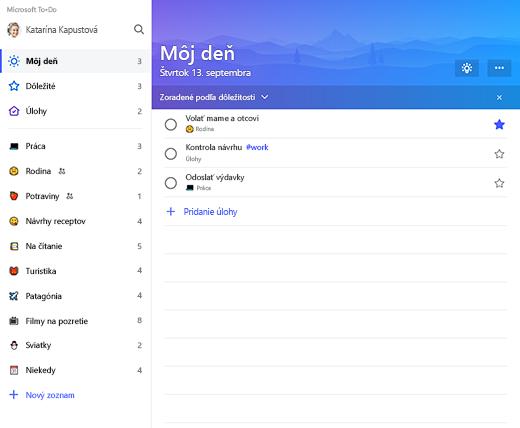 Snímka obrazovky zobrazujúca zoznam sidebar a zoznam môj deň v Microsoft To-Do