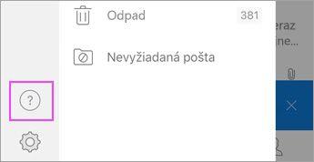 V ponuke Outloku pre iOS ťuknite na položku ?.