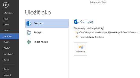 Uloženie obrazovky, ktorá zobrazuje lokalitu služieb OneDrive for Business a SharePoint uloženú v položke Miesto