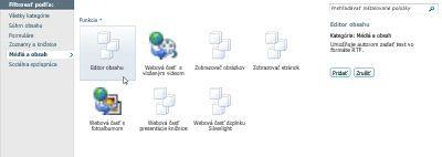 Dialógové okno Ďalšie webové časti