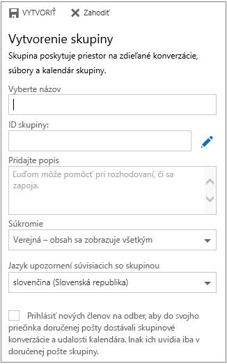 Vytvorenie skupiny v Kalendári pre Outlook na webe pre podniky