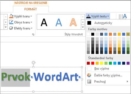 Galéria farieb výplne textu na karte Nástroje na kreslenie – Formát