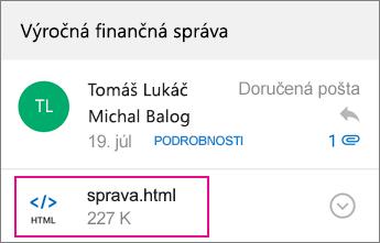 Zobrazovač OME s programom Outlook pre Android 1