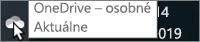 Snímka obrazovky znázorňujúca ukázanie kurzorom myši na bielu ikonu OneDrivu stextom OneDrive – osobné.