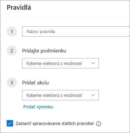 Vytvorenie nového pravidla v Outlooku na webe