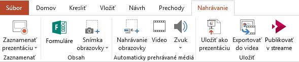 Karta Záznam na páse s nástrojmi v PowerPointe 2016