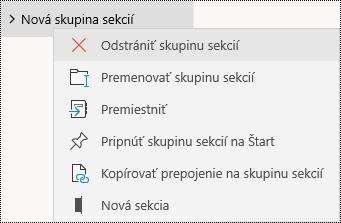 Odstránenie skupín sekcií v aplikácii OneNote pre Windows 10