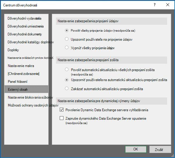 Nastavenie externého obsahu v Centre dôveryhodnosti Excelu