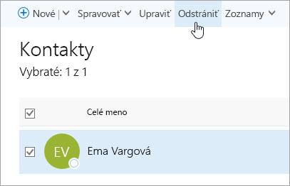 Snímka obrazovky s tlačidlom Odstrániť na stránke Ľudia.