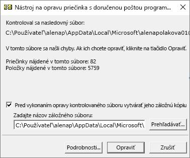 Zobrazujú sa výsledky naskenovaného údajového súboru .pst Outlooku pomocou nástroja na opravu priečinka sdoručenou poštou od spoločnosti Microsoft, SCANPST. EXE