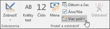 Snímka obrazovky skupiny Pridať aodstrániť na páse snástrojmi Polia.