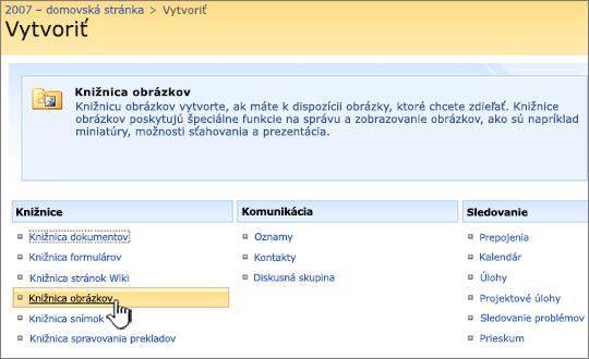 Výber knižnice obrázkov zo zoznamu knižníc včasti Vytvorenie