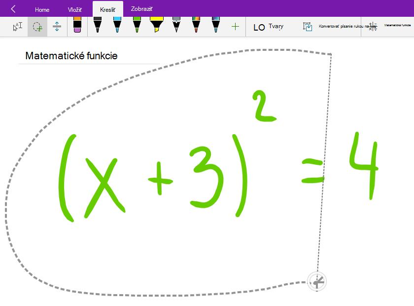 Výber rukou písanej matematickej rovnice pomocou funkcie Laso
