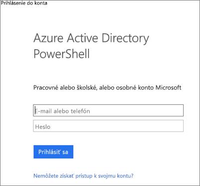 Zadajte poverenia správcu služby Azure Active Directory