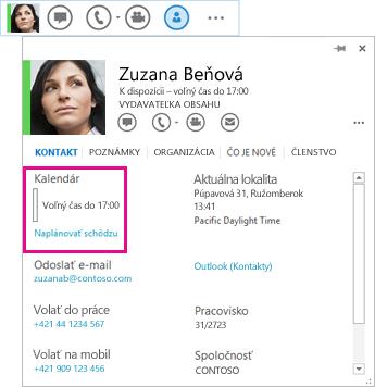 Snímka obrazovky s ponukou Rýchla komunikácia cez Lync a kartou kontaktu so zvýraznením kalendára a naplánovanej schôdze
